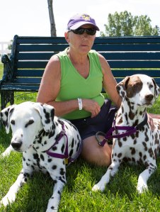 Sandy-with-her-two-Dalmatians-CVoach-&-Dexter